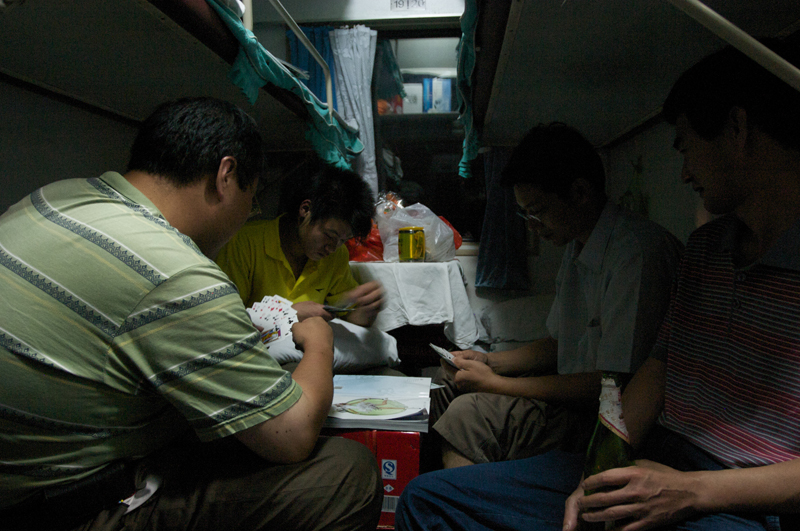 Migrant workers on a train